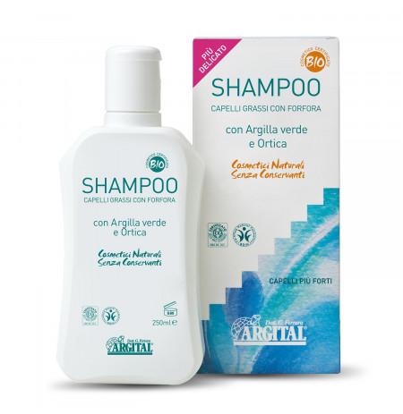 Shampo për flokë me yndyrë ose zbokth, me argjilë & hithër 250 ml - Herbal Line Albania